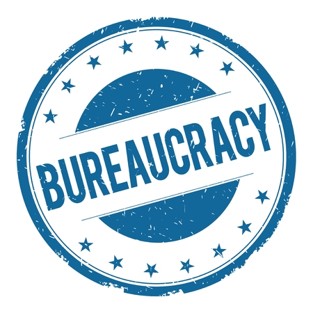 bureaucracy: BUREAUCRACY stamp sign text word logo blue.