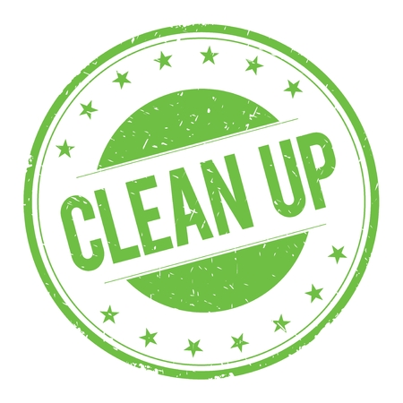 cleanup: CLEAN-UP stamp sign text word logo green. Stock Photo