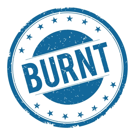 burnt: BURNT stamp sign text word logo blue. Stock Photo