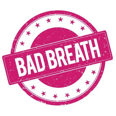 magenta: BAD-BREATH stamp sign text word logo magenta pink.