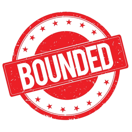 bounded: BOUNDED stamp sign text word logo red.