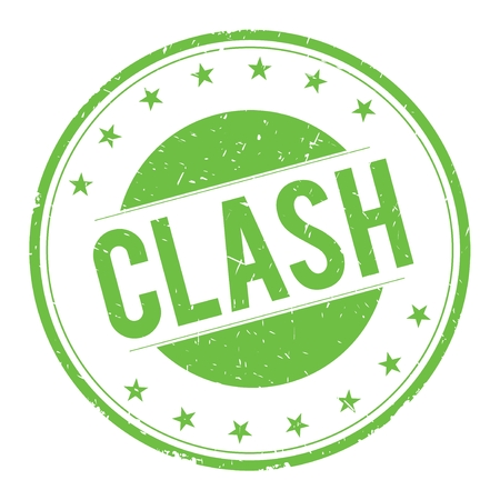 clash: CLASH stamp sign text word logo green. Stock Photo