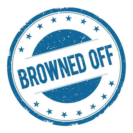 browned: BROWNED OFF stamp sign text word logo blue.