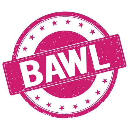 bawl: BAWL stamp sign text word logo magenta pink. Stock Photo
