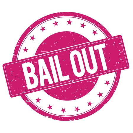 bailout: BAIL-OUT stamp sign text word logo magenta pink.