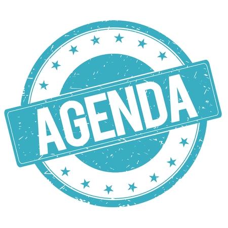 agenda: AGENDA stamp sign text word logo cyan blue.