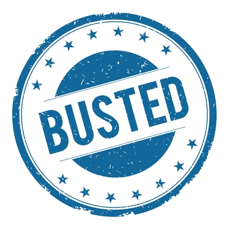 busted: BUSTED stamp sign text word logo blue. Stock Photo