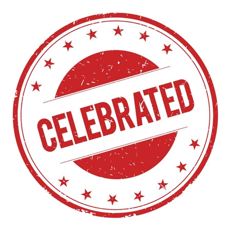celebrated: CELEBRATED stamp sign text word logo red.
