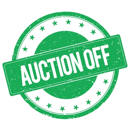 auction off: AUCTION OFF stamp sign text word logo green. Stock Photo