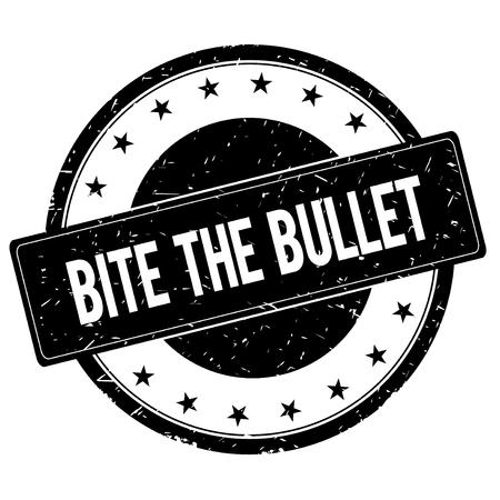 bite: BITE THE BULLET stamp sign text word logo black.