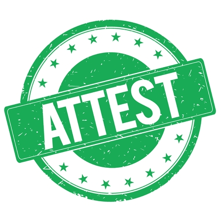 attest: ATTEST stamp sign text word logo green.