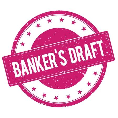 magenta: BANKERS-DRAFT stamp sign text word logo magenta pink. Stock Photo