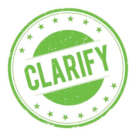 clarify: CLARIFY stamp sign text word logo green.