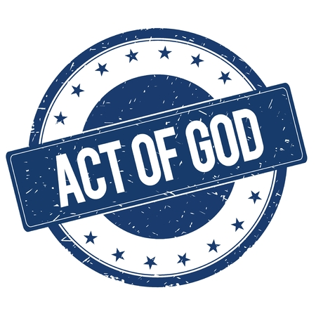 act of god: ACT OF GOD stamp sign text word logo blue. Stock Photo