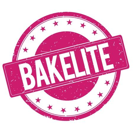 bakelite: BAKELITE stamp sign text word logo magenta pink. Stock Photo