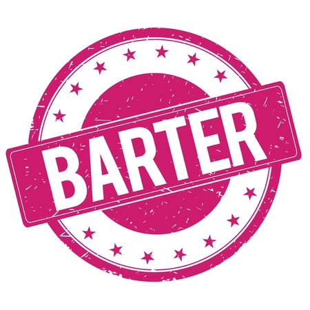 barter: BARTER stamp sign text word logo magenta pink. Stock Photo