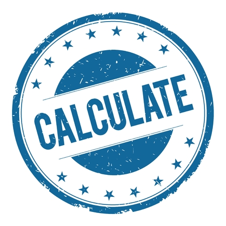 calculate: CALCULATE stamp sign text word logo blue.