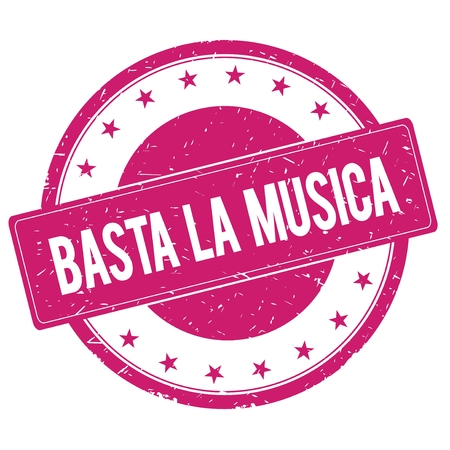 BASTA-LA-MUSICA stamp sign text word logo magenta pink.