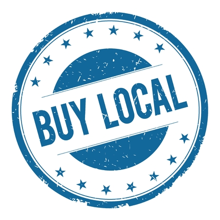 BUY LOCAL stamp sign text word logo blue.