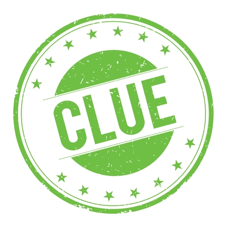 clue: CLUE stamp sign text word logo green.