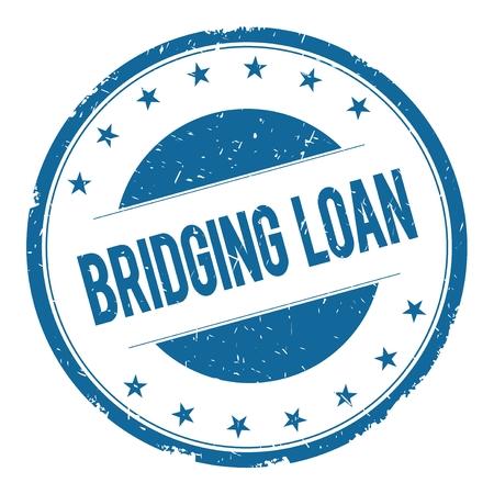 bridging: BRIDGING LOAN stamp sign text word logo blue. Stock Photo