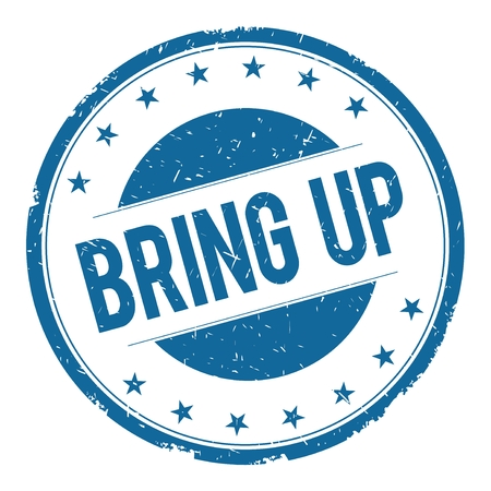 bring up: BRING UP stamp sign text word logo blue.