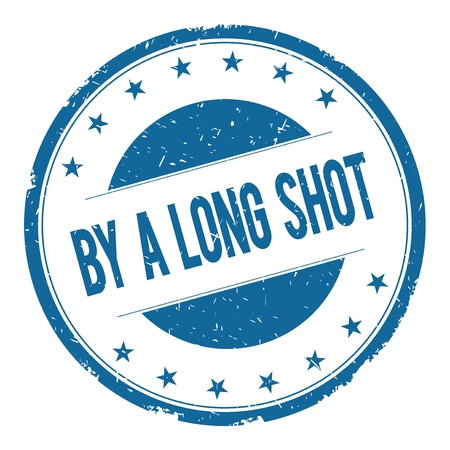 plan éloigné: BY A LONG SHOT stamp sign text word logo blue.