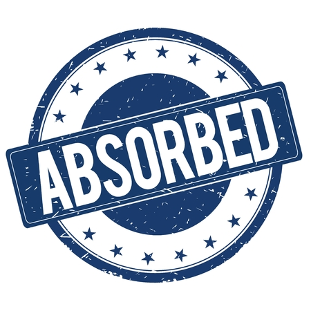 absorbed: ABSORBED stamp sign text word logo blue.