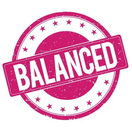 balanced: BALANCED stamp sign text word logo magenta pink.