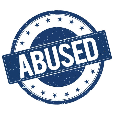 abused: ABUSED stamp sign text word logo blue.