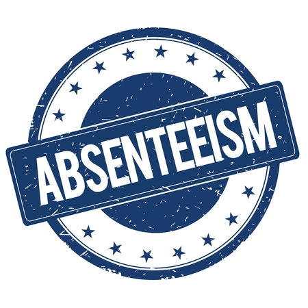 ABSENTEEISM stamp sign text word logo blue.