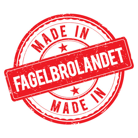 made: Made in FAGELBROLANDET stamp Stock Photo