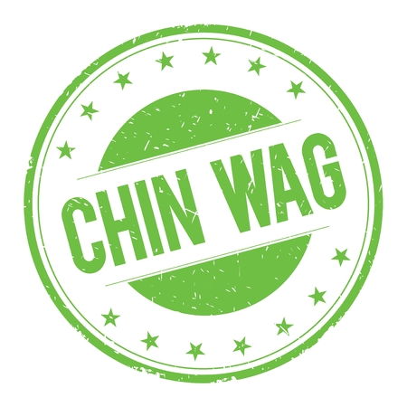 CHIN-WAG stamp sign text word logo green.