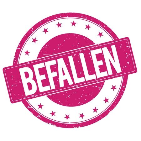 magenta: BEFALLEN stamp sign text word logo magenta pink.