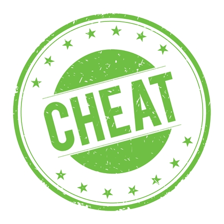 cheat: CHEAT stamp sign text word logo green.