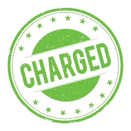 CHARGED stamp sign text word logo green.