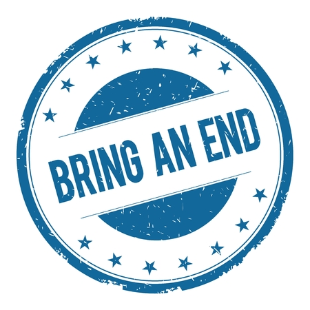 bring: BRING AN END stamp sign text word logo blue.