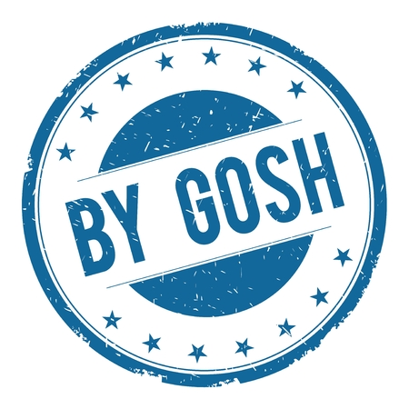 BY GOSH stamp sign text word logo blue.