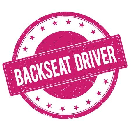 magenta: BACKSEAT-DRIVER stamp sign text word logo magenta pink.