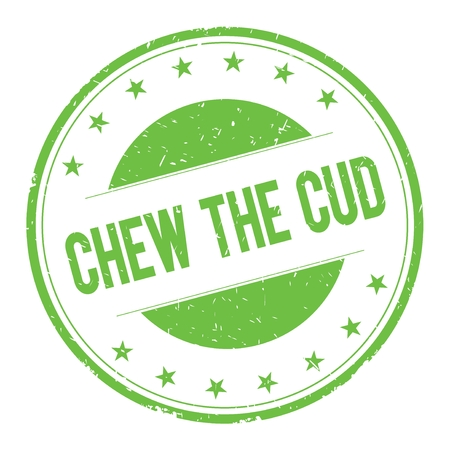 cud: CHEW-THE-CUD stamp sign text word logo green.