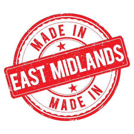 midlands: Made in EAST MIDLANDS stamp Stock Photo
