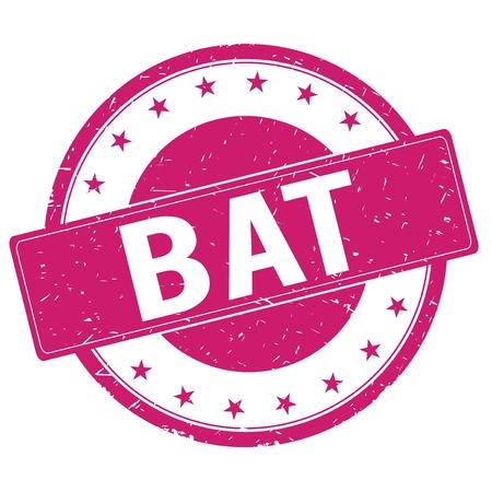 magenta: BAT stamp sign text word logo magenta pink.