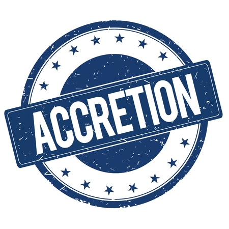 accretion: ACCRETION stamp sign text word logo blue. Stock Photo