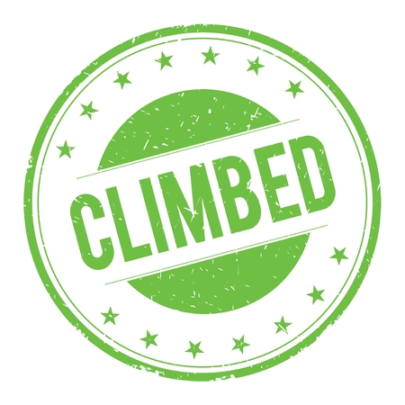 climbed: CLIMBED stamp sign text word logo green.