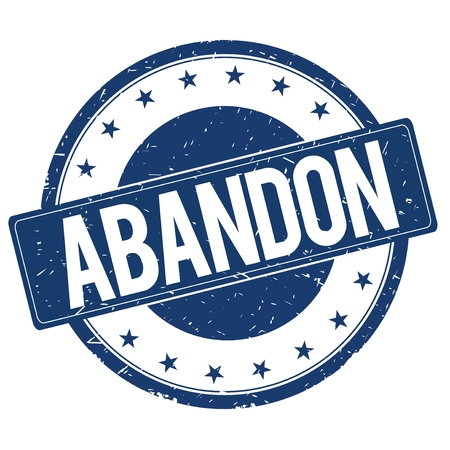 ABANDON stamp sign text word logo blue.