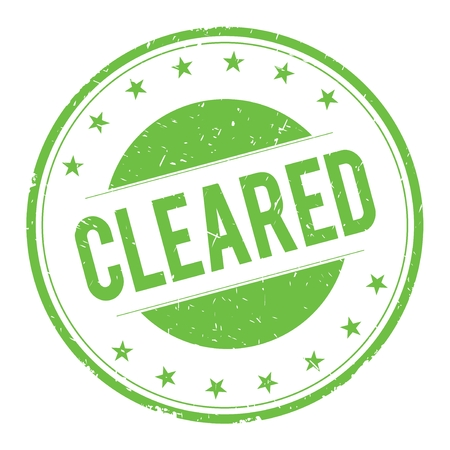 cleared: CLEARED stamp sign text word logo green. Stock Photo