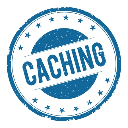 caching: CACHING stamp sign text word logo blue.