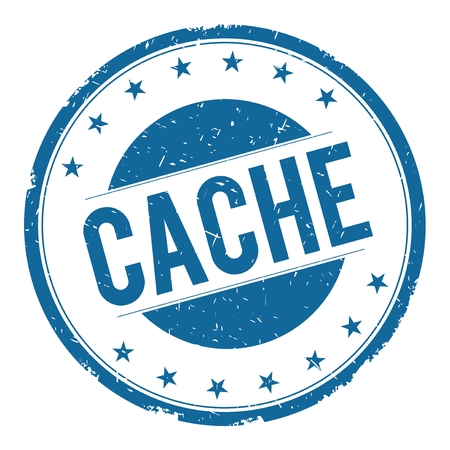 CACHE stamp sign text word logo blue.