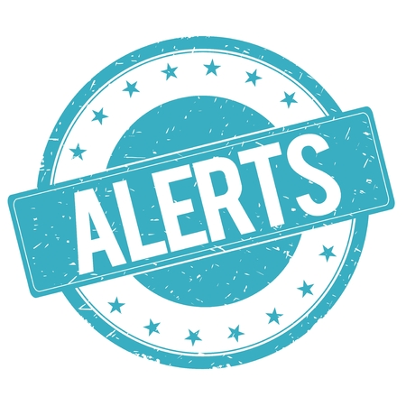 alerts: ALERTS stamp sign text word logo cyan blue.