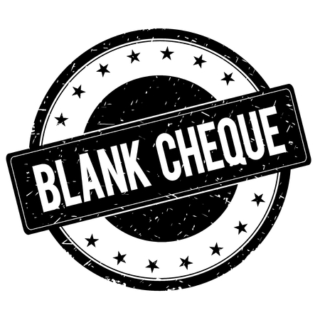 BLANK CHEQUE stamp sign text word logo black.